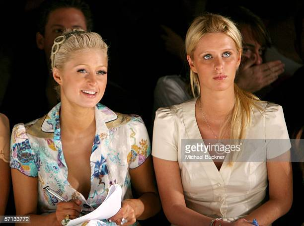 Socialites Paris Hilton and sister Nicky Hilton in the front row at the Louis Verdad Fall 2006 show during MercedesBenz Fashion Week at Smashbox...