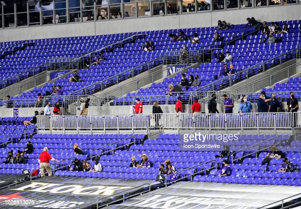 Socially distanced crowd of family members attends the Kansas City Chiefs game versus the Baltimore Ravens on September 28, 2020 at M&T Bank Stadium...