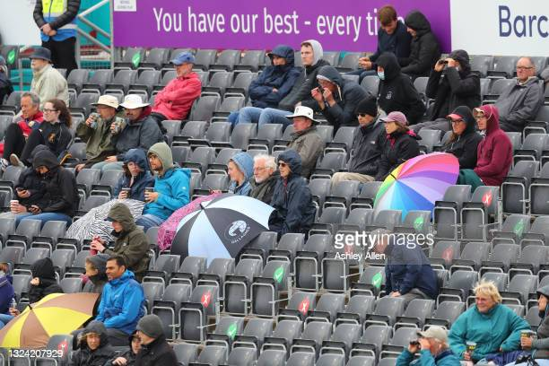 Socially distanced crowds brave the weather on Day Three of the LV= Insurance Test Match between England Women and India Women at the Bristol County...
