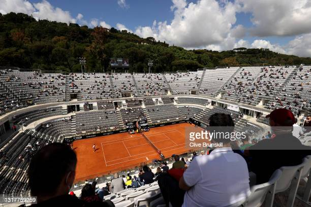Socialy distance crowds are let in to watch play in the mens singles third round match between Novak Djokovic of Serbia and Davidovich Fokina of...