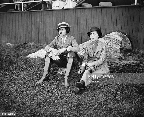 Society at Tuxedo Horse Show Miss Adelaide Moffett and Mrs John V Bouvier 3rd shown as they attended the first day of the Tuxedo Horse Show at Tuxedo...
