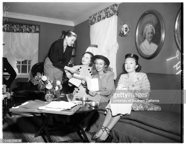 Society Fashionettes February 21 1951 Mrs Robert BarkerMrs Marie Wells BurnsideMrs Thomas MaloufMrs Russell GarnerJohn AuerMrs Herbert W SpencerMrs...