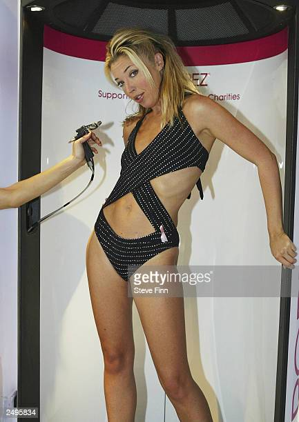 Society Girl Tamara Beckwith attends a photocall for Breast Cancer at Debenhams Oxford Street on September 15 2003 in London Beckwith becomes the...