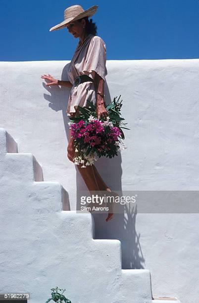 Society hostess and fashion designer Viscountess Jacqueline de Ribes at her house in Ibiza Spain September 1978