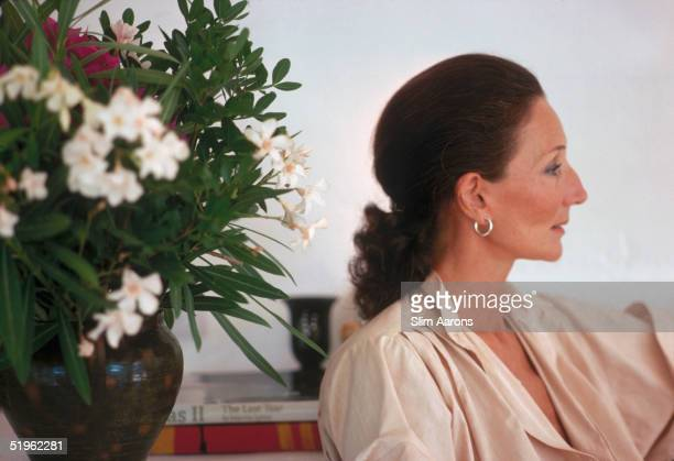 Society hostess and fashion designer Viscountess Jacqueline de Ribes in Ibiza Spain September 1978
