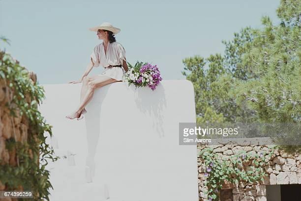 Society hostess and fashion designer Viscountess Jacqueline de Ribes at her house in Ibiza Spain 1978