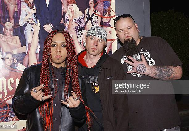 Society One arrive at the record release party for Gene Simmons' 'Asshole' on April 22 2004 at the Key Club in West Hollywood California