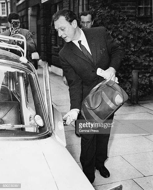 Society osteopath Dr Stephen Ward a leading figure in the Profumo Affair getting into a car in Chelsea on his way to the Old Bailey London July 24th...