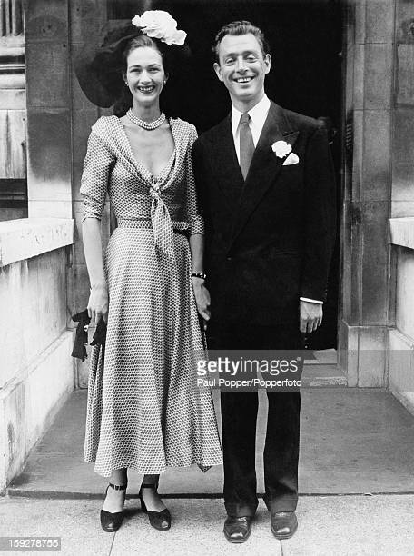 Society osteopath Stephen Ward with model Patricia Baines after their wedding at Marylebone Registry Office London 27th July 1949 In 1963 Ward was...
