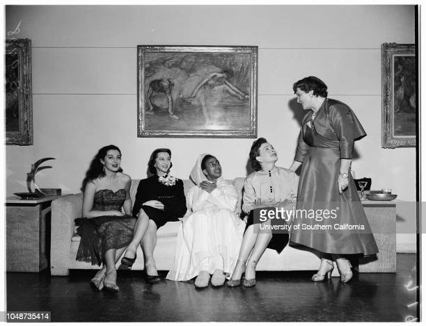 Society Robinson party, 29 November 1951. Sally Forrest;Prince Hassan El Glaoui;Mrs William B Riley;Mrs Gladys Robinson;Betty Lynn;Mrs Eddie...