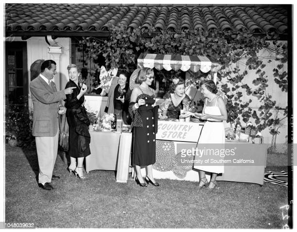 Society -- Spastic Childrens League Strawberry Festival, June 23, 1951. Mr and Mrs W George Faraco;Mrs Louis Hayes;Mrs James Howell, Junior;Mrs Paul...