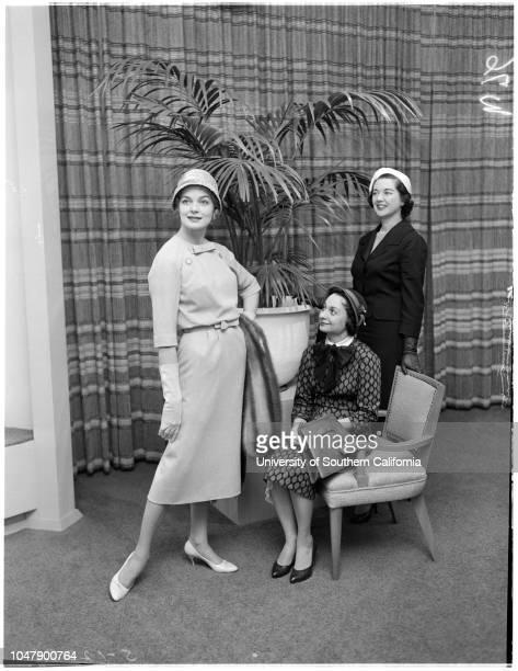 SocietyCity Pan Hellenic Women planning fashion show 4 February 1958 Carol AndersonMrs Donald FriedmanMrs James CraneLewis Caption sleeve reads...