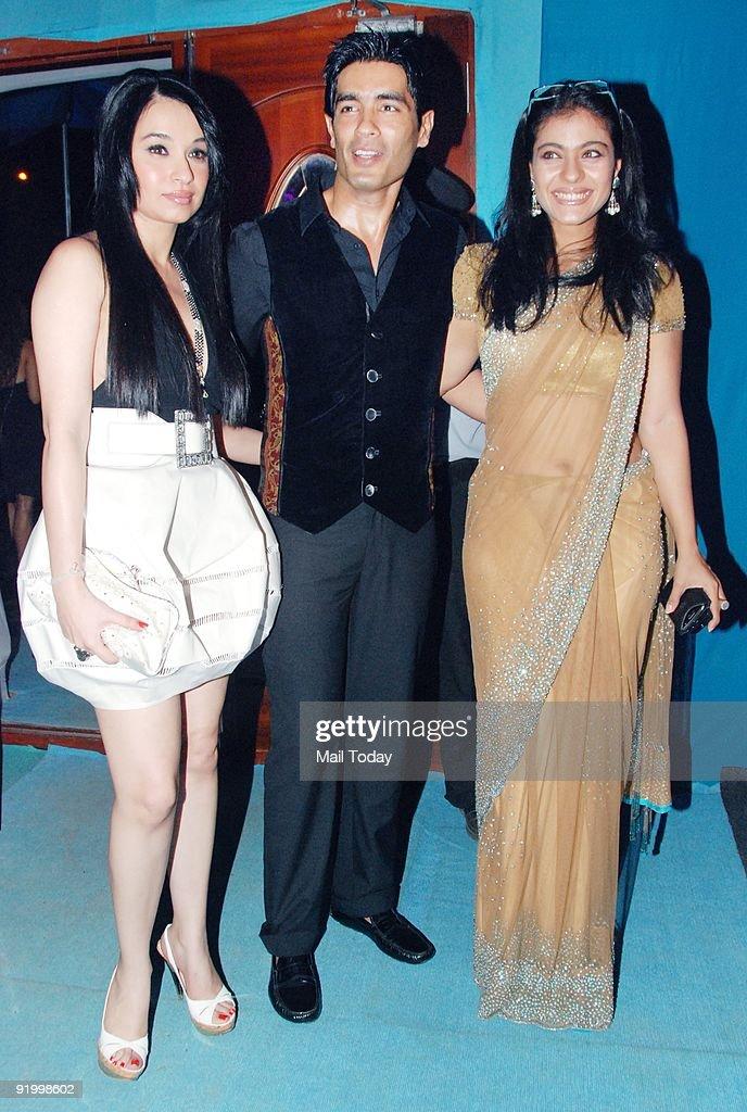 Socilaite Sheetal Mafatlal Designer Manish Malhotra and actress Kajol at the last day of the HDIL India Couture Week in Mumbai on Friday October 16...