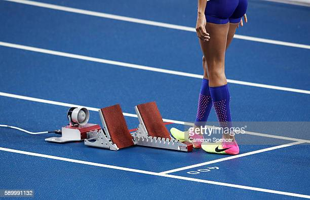 Sock and shoe detail of Allyson Felix of the United States prior to Women's 400 metres final on Day 10 of the Rio 2016 Olympic Games at the Olympic...