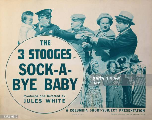 Sockabye Baby US lobbycard front top from left Joyce Gardner Bud Jamison Curly Howard Larry Fine Moe Howard bottom from left Julie Gibson Larry Fine...