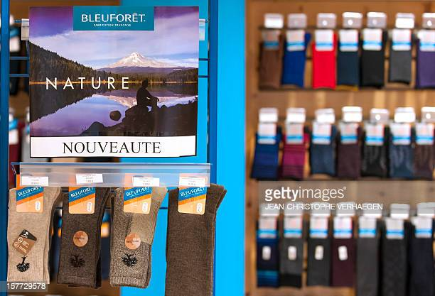Socks are displayed at a Bleuforet shop a Made in France socks tights leggings with natural fibers company at their production unit in Vagney on...