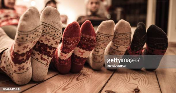 socks at christmas at home - low section stock pictures, royalty-free photos & images