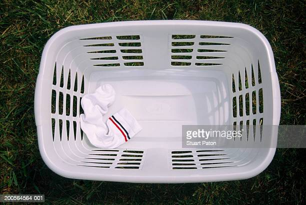 Socks in washing basket, elevated view