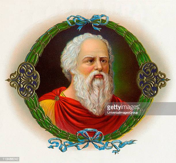 Socrates 470 to 399 BC Ancient Greek philosopher Chromolithograph from early American twentieth century cigar box