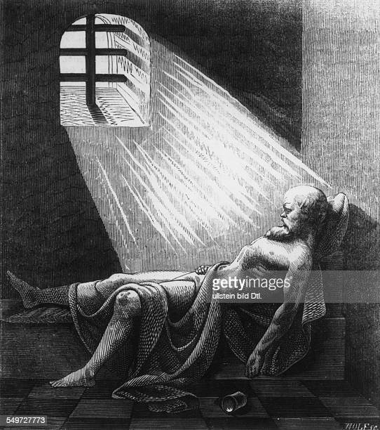 Socrates after drinking the hemlock 399 BC historical illustration from the 19th c