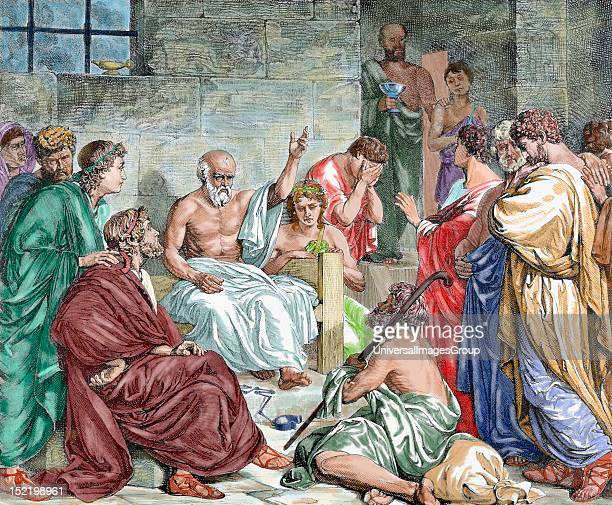 Socrates Classical Greek Athenian philosopher Socrates in prison before being sentenced to death Colored engraving