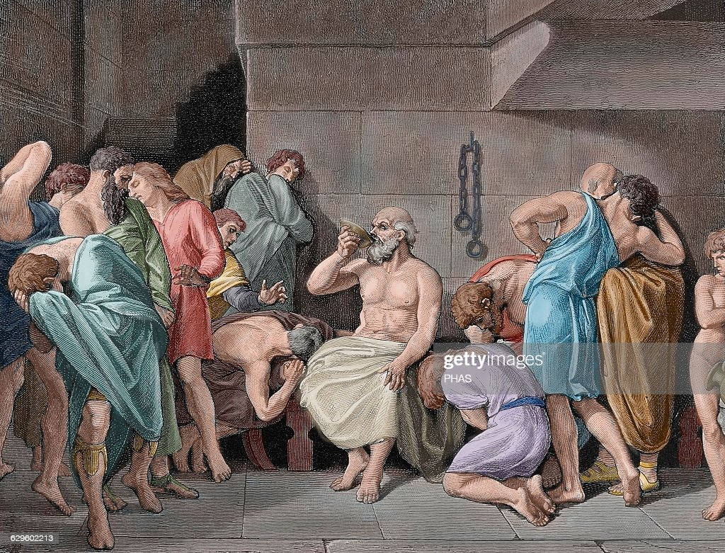 Socrates (c 469 - 399 BC). Classical Greek philosopher. Engraving. Colored. : News Photo