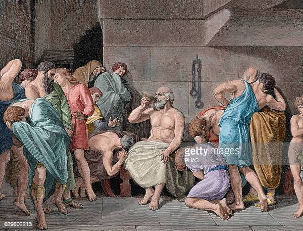 Socrates Classical Greek philosopher The Death of Socrates He was sentenced to die by drinking poison hemlock Engraving 19th century Colored