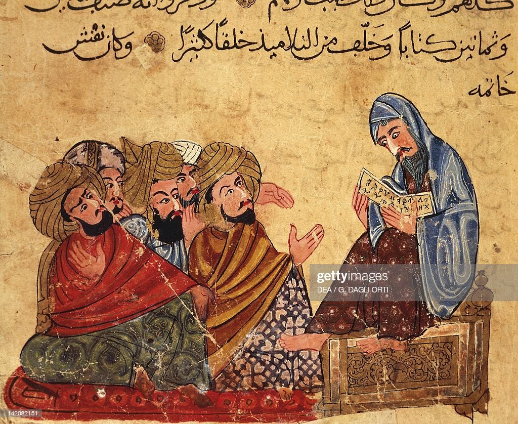 Socrates discussng philosophy with his disciples, Arabic miniature from a manuscript, Turkey 13th Century.