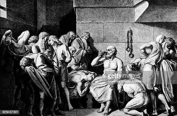 Socrates Drinking Hemlock Engraving 1882