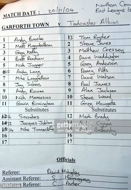 Socrates is named as a substitute on the Garforth Town v Tadcaster Albion teamsheet at Garforth Town football ground near Leeds Saturday November 20...