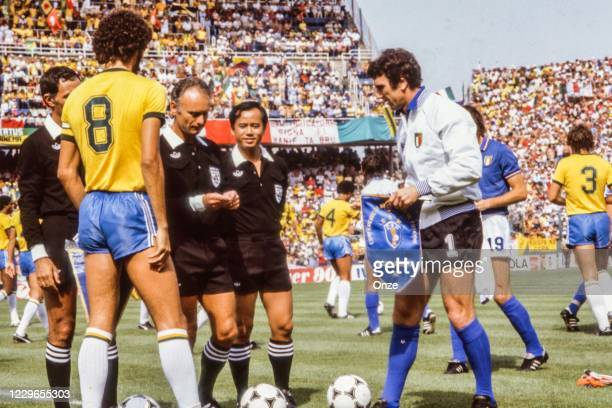 Socrates of Brazil, Abraham Klein, referee and Dino Zoff of Italy during the second stage of the 1982 FIFA World Cup match between Italy and Brazil,...