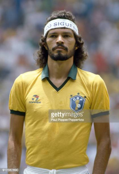Socrates of Brazil lines up prior to the FIFA World Cup match between Spain and Brazil at the Estadio Jalisco in Guardalajara 1st June 1986 Brazil...