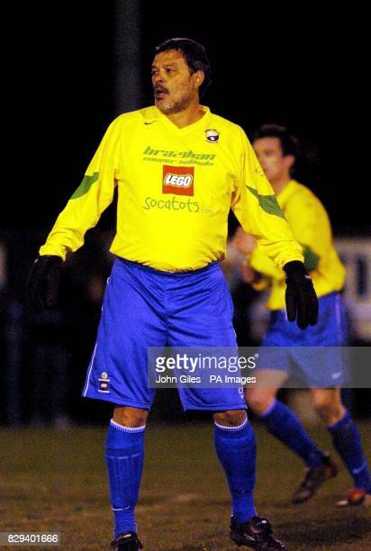 Socrates the former Brazillian soccer star takes the pitch for Garforth Town Saturday November 20 2004 after being brought on as a substitute against...