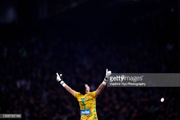 Socratis Dioudis of Panathainaikos celebrates his team's second goal during the Greece SuperLeague match between Panathinaikos FC and P.A.O.K. At...