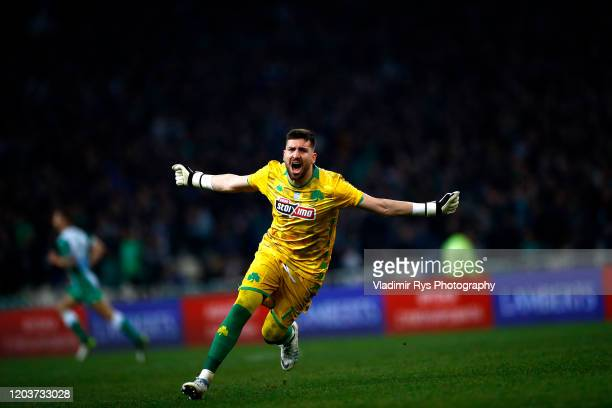 Socratis Dioudis of Panathinaikos celebrates his team's first goal during the Greece SuperLeague match between Panathinaikos FC and P.A.O.K. At OAKA...