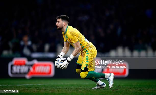 Socratis Dioudis of Panathinaikos controls the ball during the Greece SuperLeague match between Panathinaikos FC and P.A.O.K. At OAKA Stadium on...