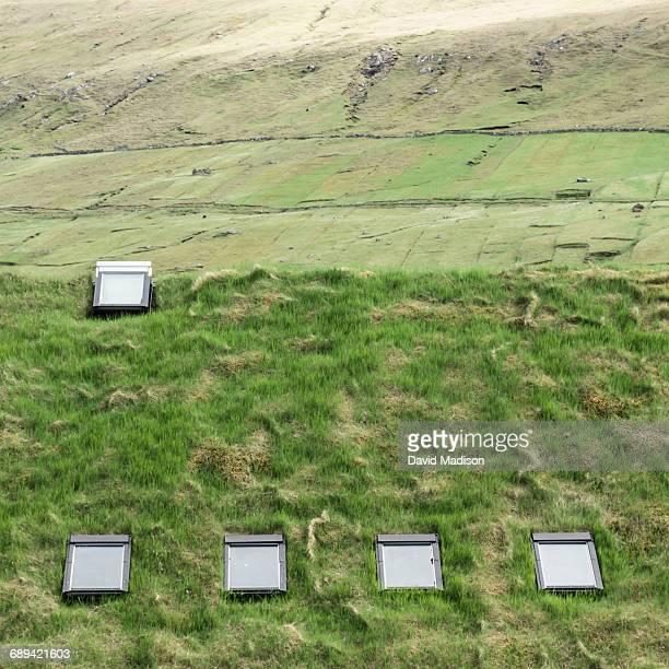 Sod roof with skylights, Faroe Islands