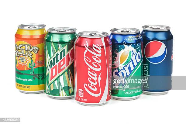 soda cans on an isolated white background - tin can stock pictures, royalty-free photos & images