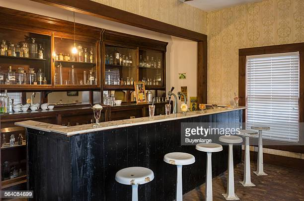 Soda fountain at the combination drug storemedical office the SpindletopGladys City Boomtown park Beaumont Texas