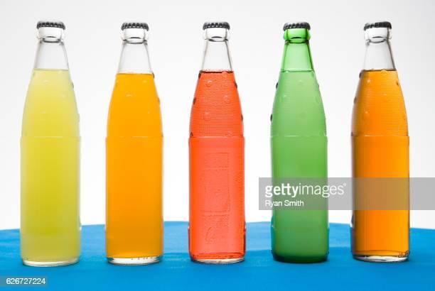 Soda pop bottles in a row