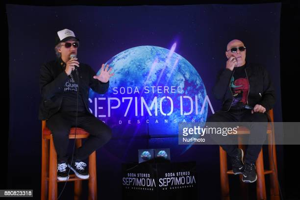 Soda Stereo's singers Zeta Bosio and Charly Alberti attend a press conference to promote the latest album 'Septimo Dia' at Camino Real Hotel on...