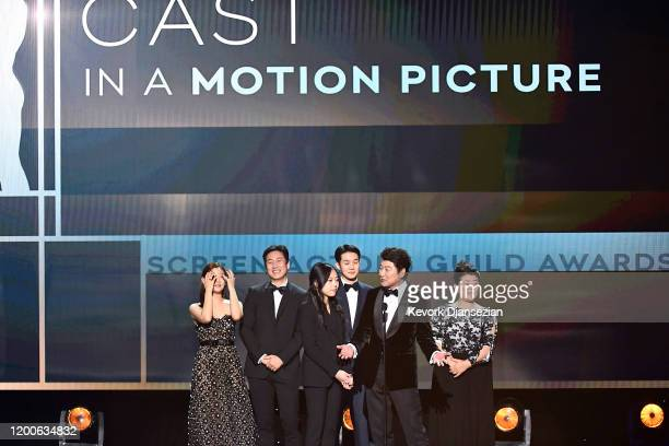 Sodam Park Sunkyun Lee Woosik Choi Jeongeun Lee and Kangho Song accept Outstanding Performance by a Cast in a Motion Picture for 'Parasite' onstage...