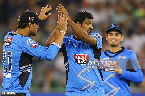 Sodhi of the Strikers celebrates a wicket during the Big Bash League match between the Melbourne Stars and the Adelaide Strikers at Melbourne Cricket...