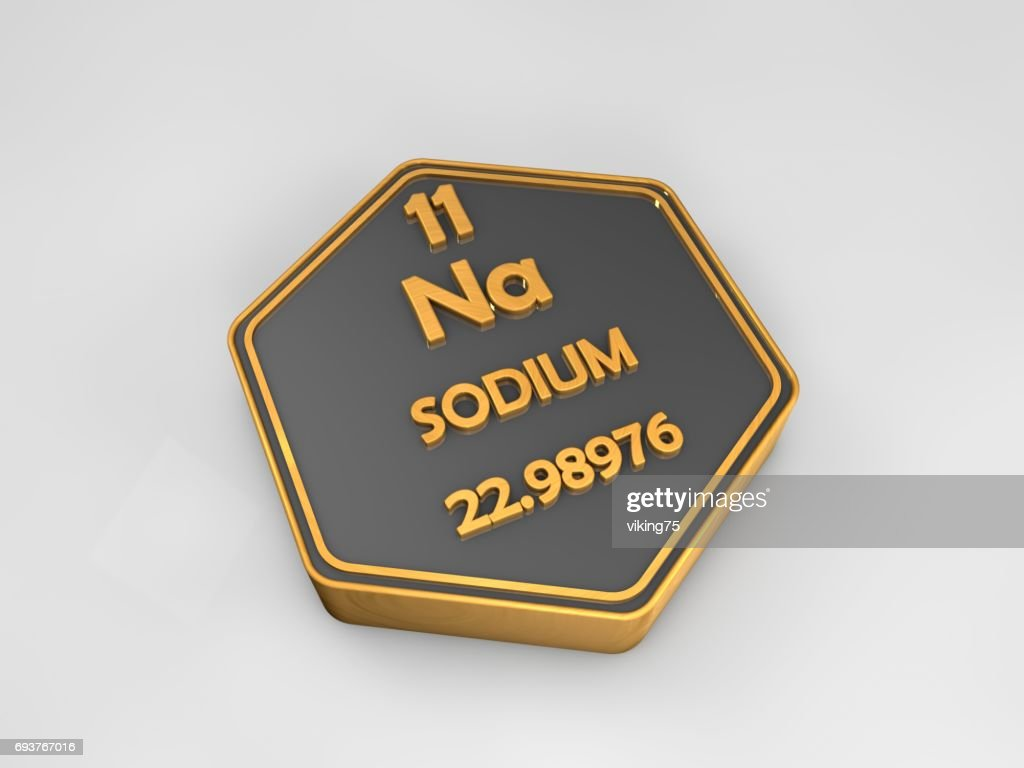 Sodium Na Chemical Element Periodic Table Hexagonal Shape 3d