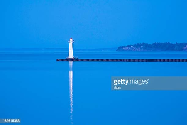 sodus point pierhead lighthouse, ny, lake ontario, blue etheral - lake ontario stock pictures, royalty-free photos & images