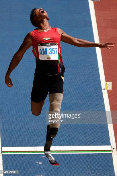 Soe Than of Myanmar competes during the Men Long Jump F42/T44 Final during the 2017 ASEAN Para Games at the National Bukit Jalil Stadium on September...