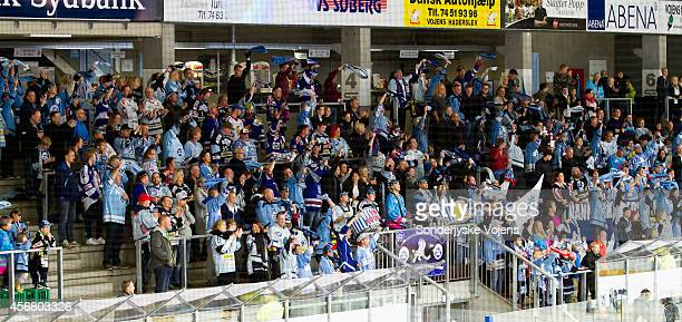 Soenderjyske supporters celebrate in the 2nd period during the Champions Hockey League group stage game between Sonderjyske Vojens and Krefeld...