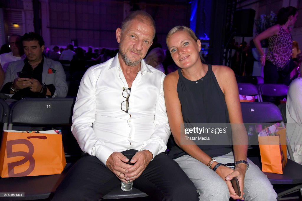Soenke Wortmann and Astrid Rebbelmund attend the Breuninger show during Platform Fashion July 2017 at Areal Boehler on July 21, 2017 in Duesseldorf, Germany.