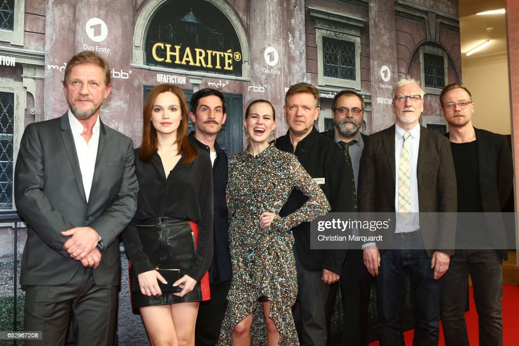 Soenke Wortmann, Emilia Schuele, Christoph Bach, Alica von Rittberg, Justus von Dohnanyi, Matthias Brenner, Ernst Stoetzer and Matthias Koeberlin, the cast of tjhe movie, attend the 'Charite' premiere at Langenbeck-Virchow-Haus on March 13, 2017 in Berlin, Germany.