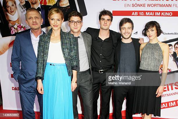 Soenke Wortmann, Lisa Bitter, Stefan Ruppe, Marian Kindermann, Martin Aselmann and Lucie Heinze attends the 'Das Hochzeitsvideo' World Premiere at...